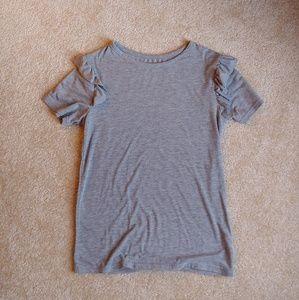 Poof New York gray ruffle sleeve t-shirt